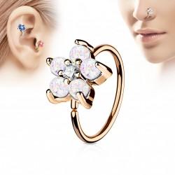 Piercing anneau or rose tragus nez hélix 8 x 0,8mm et une fleur blanche Jas TRA109