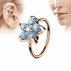 Piercing anneau or rose tragus nez hélix 8 x 0,8mm et une fleur bleu Joh TRA109