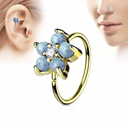 Piercing anneau doré tragus nez hélix 8 x 0,8mm avec une fleur bleu Oko TRA073
