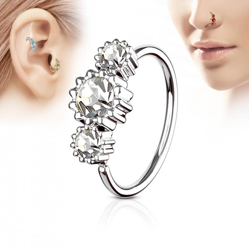 piercing anneau tragus nez h lix 8 x 0 8mm et trois zirconiums banc. Black Bedroom Furniture Sets. Home Design Ideas