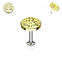 Piercing labret doré 6mm avec un arbre de vie Nova LAB151