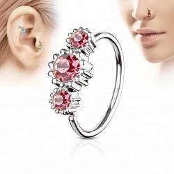 Piercing anneau tragus nez hélix 8 x 0,8mm et trois zirconiums rose Daxa TRA110