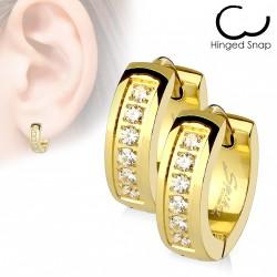 Boucle anneau oreille en acier doré avec zirconiums blanc Cow ANN018