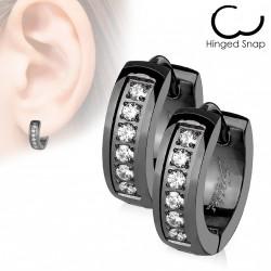 Boucle anneau oreille en acier noir avec zirconiums blanc Cafy ANN018