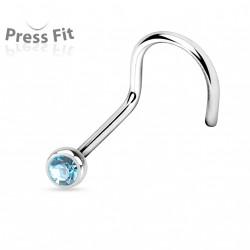 Piercing nez coudé 0,8mm x 6mm et crystal 2,3mm bleu aqua Daz NEZ131