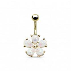 Piercing nombril doré avec une fleur en opaline blanche Xazy