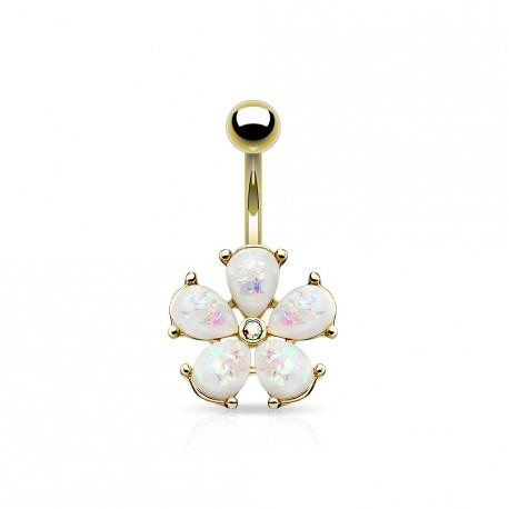 Piercing nombril doré avec une fleur en opaline blanche Xazy NOM178