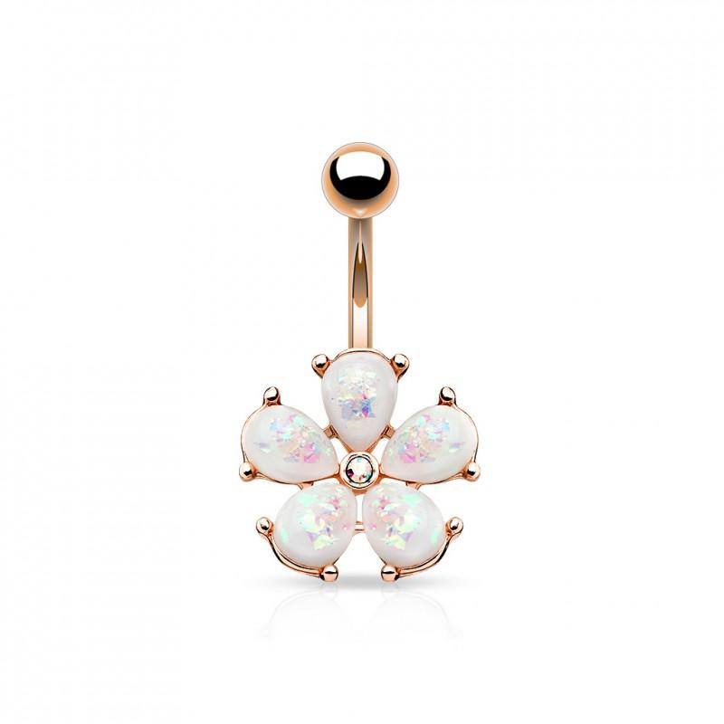 piercing nombril or rose avec une fleur en opaline blanche xyku 8. Black Bedroom Furniture Sets. Home Design Ideas