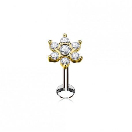 Piercing labret 8mm fleur doré avec pierres de zirconium blanc Qiko LAB155