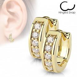 Boucle anneau doré orné de pierres de zirconium blanc Lyw ANN026