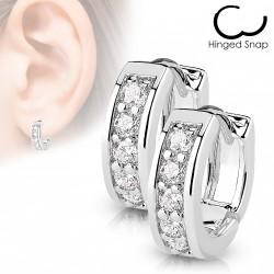 Boucle anneau acier orné de pierres de zirconium blanc Luka ANN026