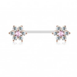 Piercing téton 14mm or rose avec double fleurs en zirconium blanc Qiko TET095
