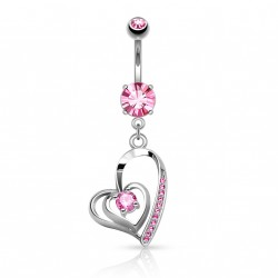 Piercing nombril double coeur avec zirconium rose Byxas NOM344