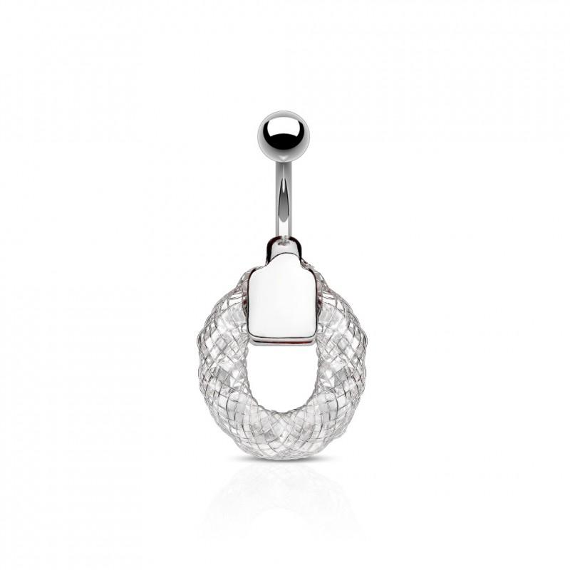 piercing nombril anneau avec crystals blanc fasy 6 85. Black Bedroom Furniture Sets. Home Design Ideas