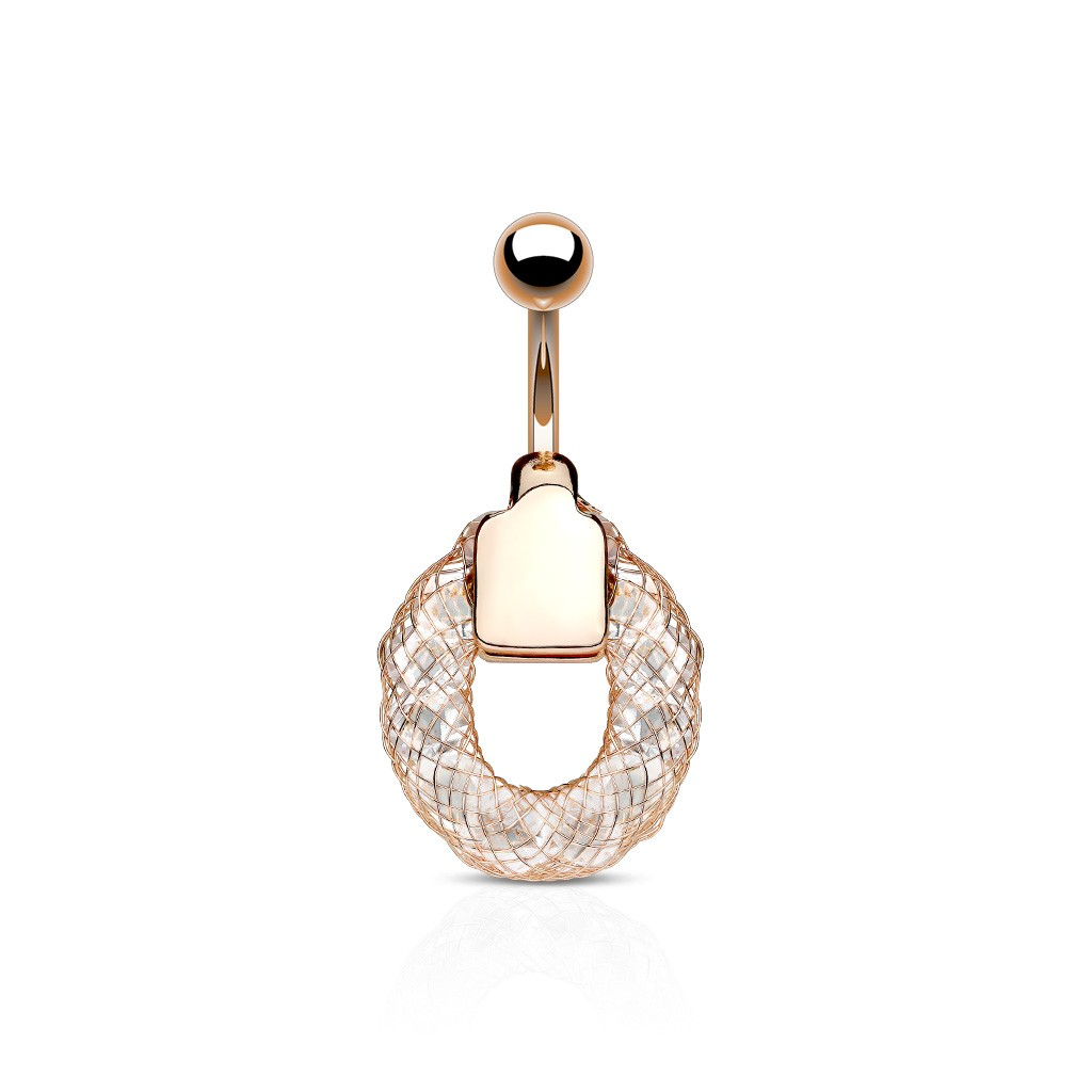 piercing nombril anneau or rose et crystals blanc fyx 6 85. Black Bedroom Furniture Sets. Home Design Ideas