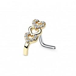 Piercing nez avec triple cœurs doré en zirconium Waju NEZ135