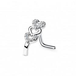 Piercing nez courbé avec triple cœurs ornés de zirconiums Wuw NEZ135