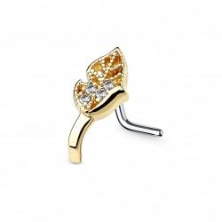 Piercing nez doré et une feuille ornée de zirconiums Lik NEZ137