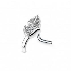 Piercing nez courbé et une feuille ornée de zirconiums Vanc NEZ137