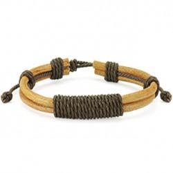 Bracelet en cuir marron trois cordons Had BRA045