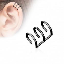 Faux piercing titanium triple anneaux noir Dan FAU123