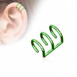 Faux piercing titanium triple anneaux vert Don FAU123