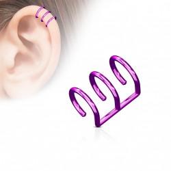 Faux piercing titanium triple anneaux violet Dyu FAU123