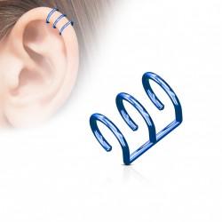 Faux piercing titanium triple anneaux bleu Deu FAU123