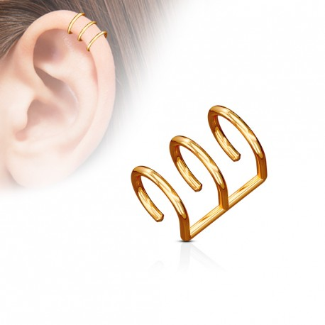 Faux piercing titanium triple anneaux or rose Wady FAU123