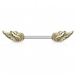 Piercing téton 14mm avec des ailes d'ange doré Duk TET096