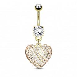 Piercing nombril coeur doré avec zirconiums blanc Vasy