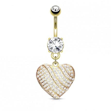 Piercing nombril coeur doré avec zirconiums blanc Vasy NOM053
