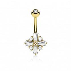 Piercing nombril doré avec une croix en ziconium blanc Hawaz NOM054