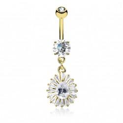 Piercing nombril plaqué or et anneau de zirconiums Wiko NOM590