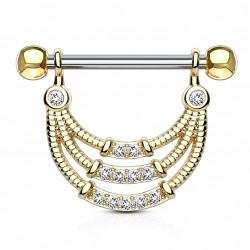 Piercing téton doré en forme d'étrier en zirconiums blanc Dajog TET097