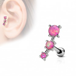 Piercing oreille tragus avec triple opaline rose Boxu TRA080