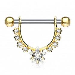Piercing téton doré en forme d'étrier avec une étoile Lazy Piercing téton5,90€