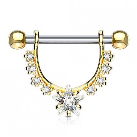 Piercing téton doré en forme d'étrier avec une étoile Lazy TET098