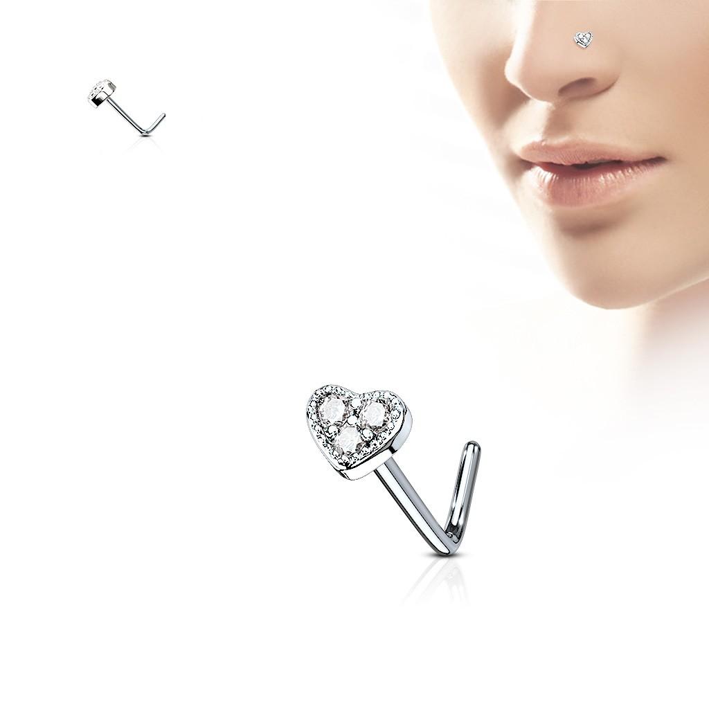 Piercing nez tige en L or rose courbé triple coeur