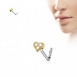 Piercing nez doré coudé coeur en zirconium blanc Fody NEZ142