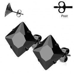 Puces d'oreilles 4mm carré et zirconium noir Xa PUC005
