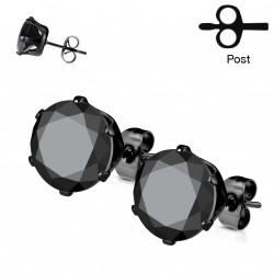 Puces d'oreilles 6mm rond et zirconium noir Xyw PUC006