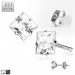 Puces d'oreilles zirconium carré blanc 4mm Ad PUC009