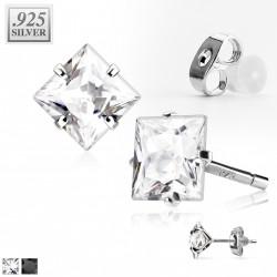 Puces d'oreilles zirconium carré blanc 6mm Ara
