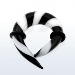 Piercing corne 10mm noir et blanc Sory COR022