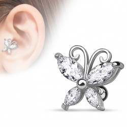 Piercing cartilage avec un papillon en zirconium blanc Xuko TRA084
