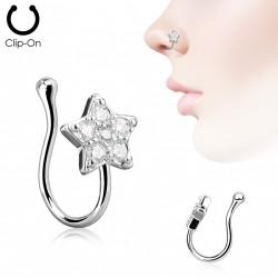Faux piercing de nez avec une étoile et zirconiums Kauh FAU006