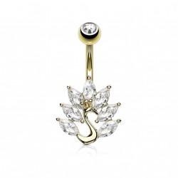 Piercing nombril doré paon avec zirconiums blanc Yas NOM058