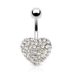 Piercing nombril coeur avec de multi crystals blanc Siko NOM043