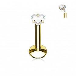 Piercing labret 6mm doré avec coeur blanc Myxa LAB073